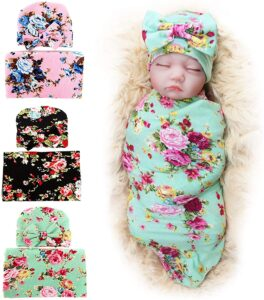 QUBO-Newborn-Floral-Receiving-Blankets