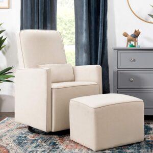 DaVinci-Olive-Upholstered-Swivel-Glider
