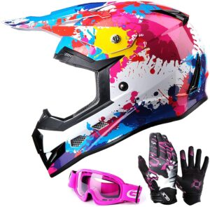 GLX Unisex-Child GX623 DOT Kids Youth ATV Off-Road Dirt Bike Motocross Helmet