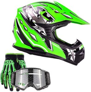 Typhoon Youth Kids Offroad Gear Combo Helmet Gloves Goggles