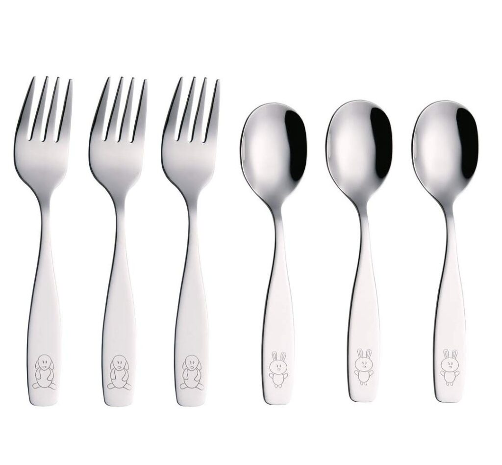 ANNOVA Kids Silverware 6 Pieces Children's Safe Flatware Set Stainless Steel
