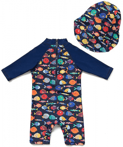 upandfast Baby/Toddler One Piece Zip Sunsuits with Sun Hat