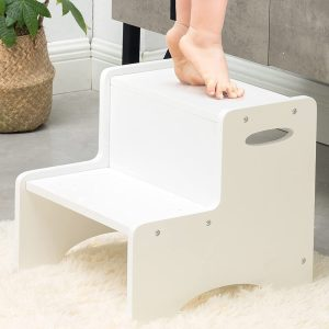 WOOD CITY Wooden Toddler Step Stool for Kids