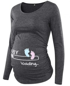BBHoping Maternity Tops Ruched Maternity Tunic Round Neck Long Sleeve
