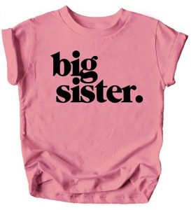 Bold Big Sister Colorful Sibling Reveal Announcement T-Shirt