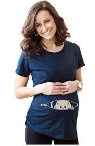 Maternity Baby Peeking T Shirt Funny Pregnancy Tee