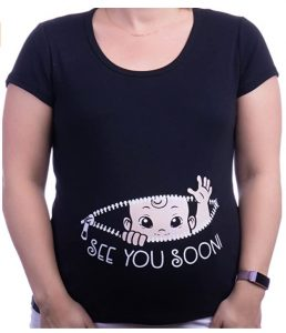 See You Soon!   Cute Funny Maternity Pregnancy Baby Scoop Neck Top T-Shirt