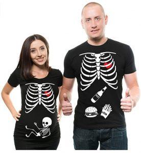 Skeleton Maternity Halloween Couple Matching Shirts