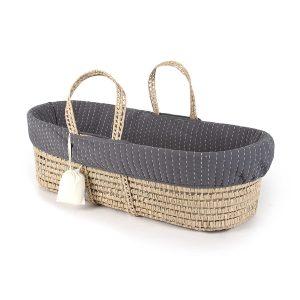 Tadpoles Line Stitched Moses Basket and Bedding Set