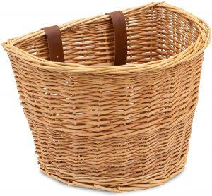 ProsourceFit Wicker Front Handlebar Bike Basket Cargo